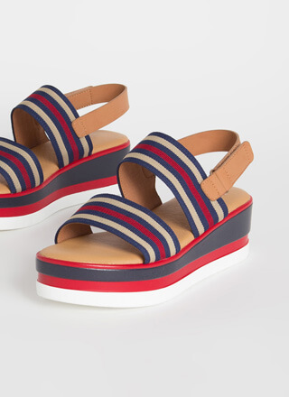Nautical Vibes Striped Wedge Sandals
