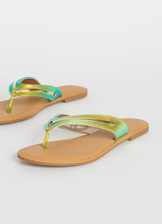 On Vacay Iridescent Thong Sandals