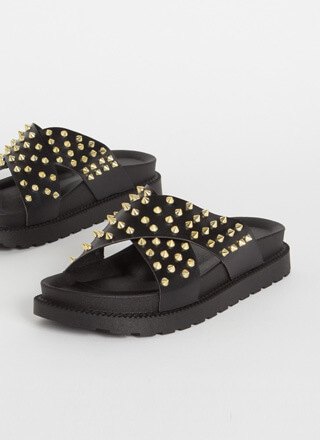 X-tra Edgy Spiky Studded Slide Sandals