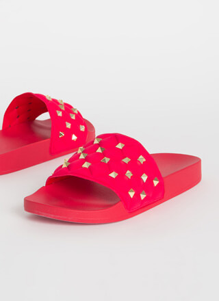 Stud Search Quilted Slide Sandals