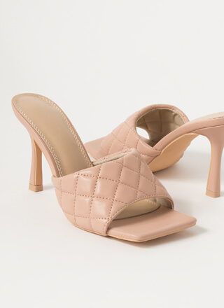 Quilty Pleasure Square-Toe Mule Heels