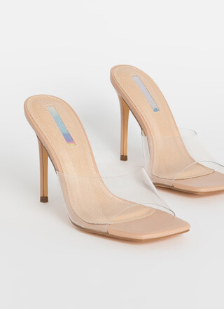 Slip Dress Peep-Toe Mule Heels