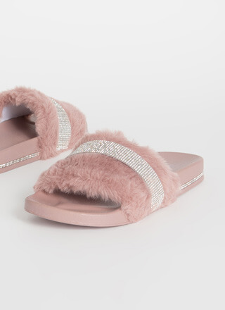 De-Luxe Jeweled Faux Fur Slide Sandals