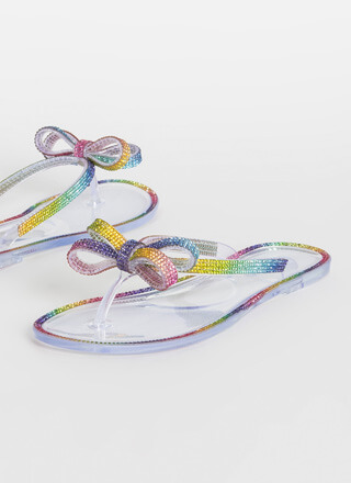 Bow In Rainbow Jewel Jelly Thong Sandals