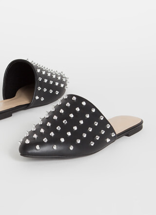 Edged Out Spiky Studded Mule Flats