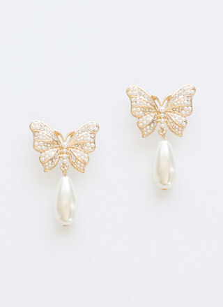 Drop In Faux Pearl Butterfly Earrings