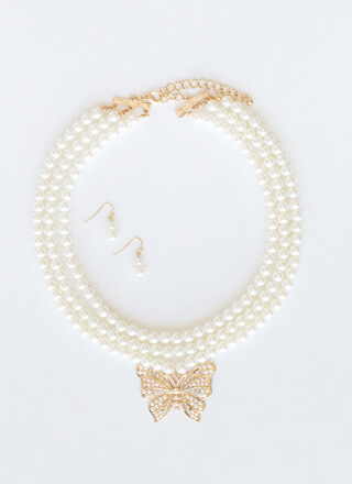 Butterfly Lady Faux Pearl Necklace Set
