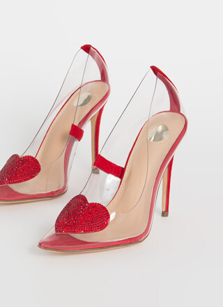 Heart Stopper Jeweled Pointy Clear Pumps