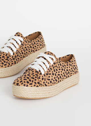 Vacay Braided Cheetah Platform Sneakers