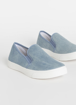 Just For Kicks Denim Slip-On Sneakers