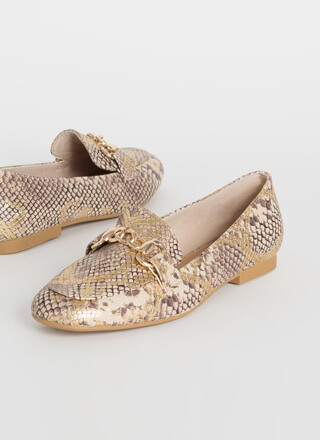 Chain Smoking Metallic Snake Print Flats