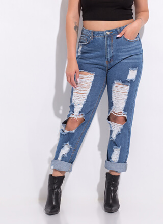 Cut Up Destroyed Girlfriend Jeans