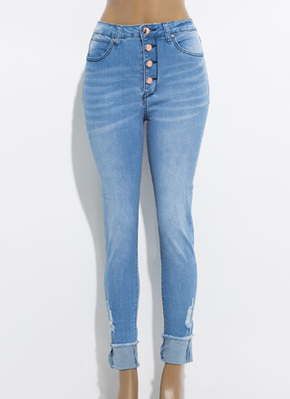 Button-Fly Girl High-Rise Skinny Jeans
