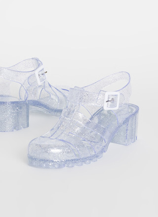 Clearly Jelly Glittery Heeled Sandals