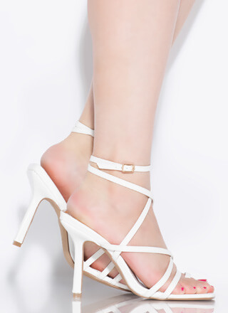 Don't Worry Be Strappy Square-Toe Heels