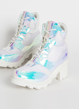 Flash To The Future Holographic Booties