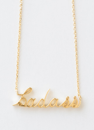 Pretty Badass Cursive Charm Necklace
