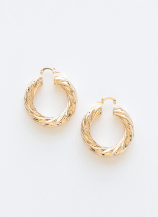 Twist To The Story Chunky Hoop Earrings