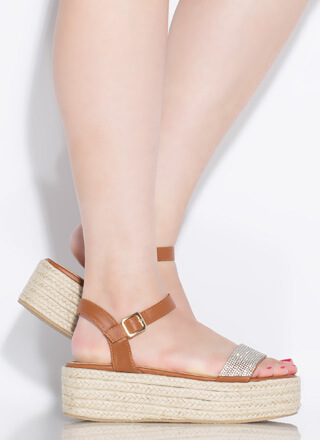 Bit Of Sparkle Braided Platform Sandals
