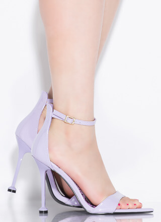 On A Pedestal Faux Patent Heels