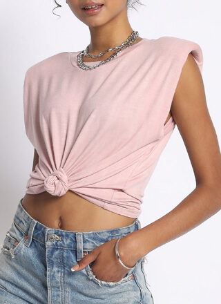 Arm Candy Cotton Shoulder Pad Tank Top
