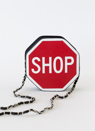 Shop 'Til You Stop Sign Novelty Purse