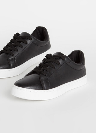 Classic Silhouette Faux Leather Sneakers