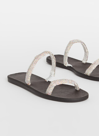 Always Sparkle Jewel Strap Slide Sandals