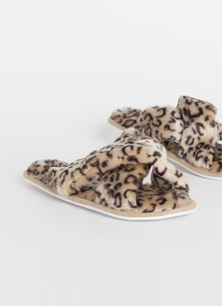 Pet Me Leopard Faux Fur Slide Sandals