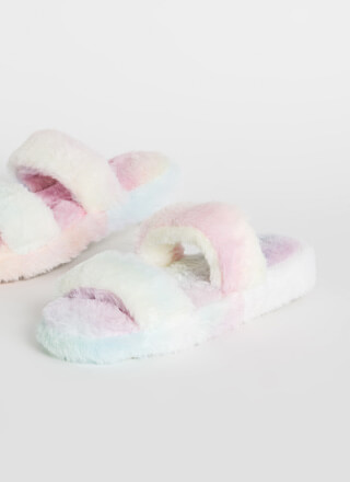 Cuddles Furry Platform Slide Sandals