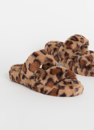Cuddles Furry Leopard Slide Sandals