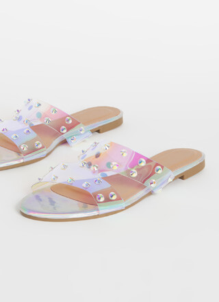 Holographic Memory Studded Slide Sandals