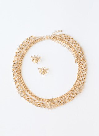 Bee Plus Jeweled 2-Chain Necklace Set