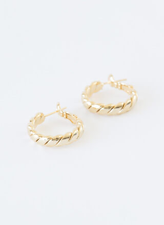 Do The Trick Small Twisted Hoop Earrings