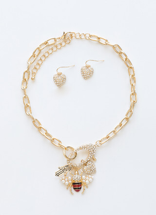 Bee Creative Jeweled Necklace Set