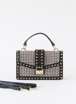 Edgy Chic Studded Houndstooth Handbag