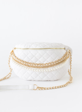 Chains Or Pearls Oversized Half-Moon Bag