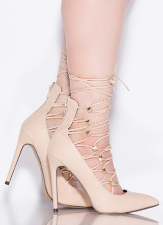 Something New Studded Lace-Up Pumps