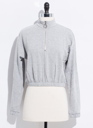 Basic Need Zip-Front Mockneck Sweatshirt