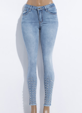 Shin Guard Jeweled Cut-Off Skinny Jeans