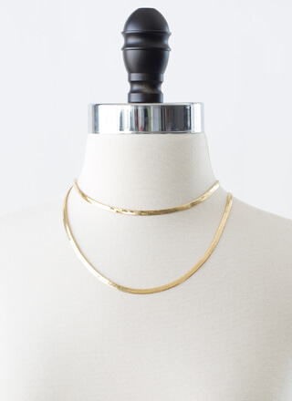 Long Story Herringbone Chain Necklace