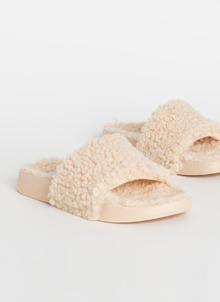 Cozy Up Faux Shearling Slide Sandals
