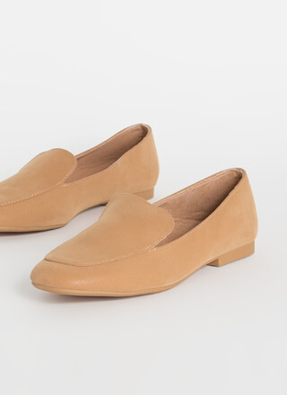 Easy Chic Faux Nubuck Smoking Flats