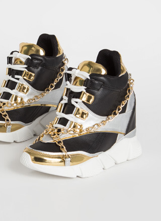 Can't Touch This Chained Wedge Sneakers