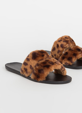 Better Furry Up Spotted Slide Sandals