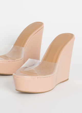 Higher Power Clear Mule Wedges