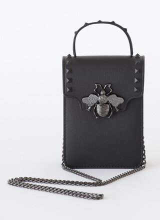 Bee Edgy Studded Chain Strap Mini Purse