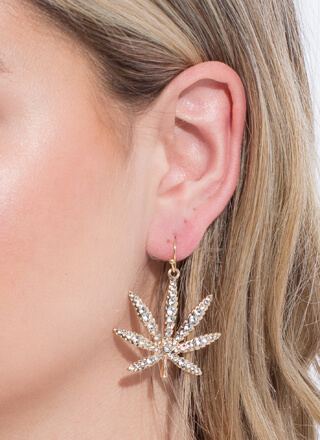 This Is Euphoria Jeweled Leaf Earrings