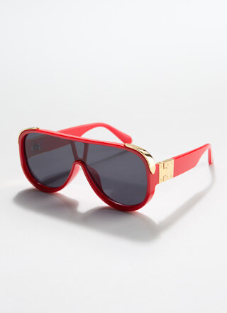 Stay Cool Shiny Accent Goggle Sunglasses