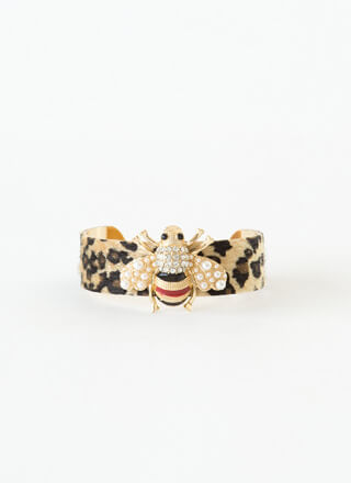 Bee Fierce Jeweled Leopard Cuff Bracelet